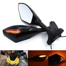 цена на Universal Motorcycle Rear View Side Wing Mirrors w/ LED Turn Signal Light for Yamaha R1 R6 R125 R15 FZ16 FZ1 FZ6 XJR1300