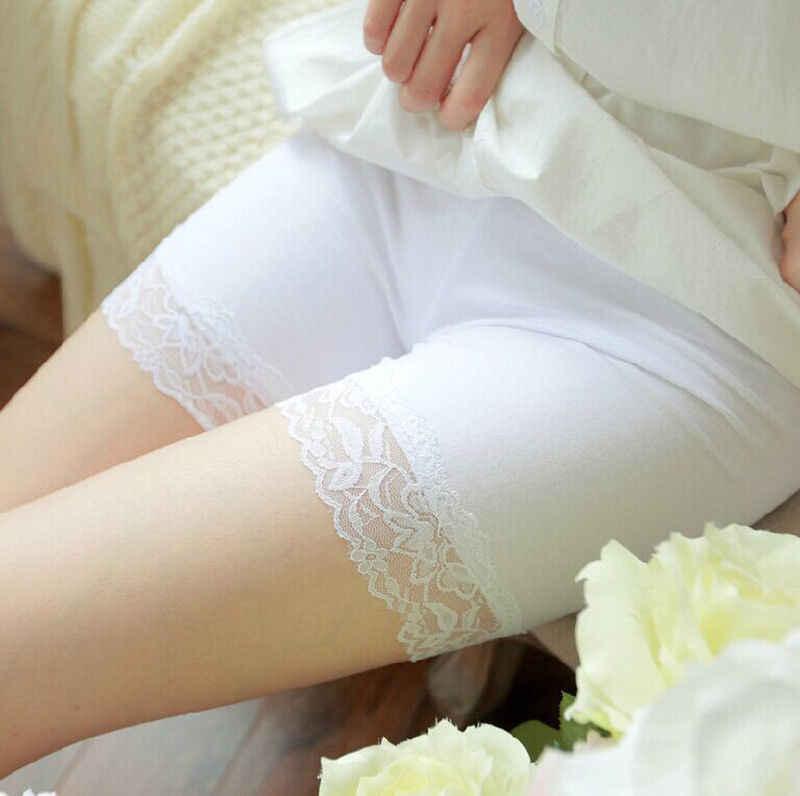 Moda na co dzień damskie damskie szorty bezpieczeństwa spodnie miękkie koronki bez szwu oddychające spodnie szorty czarny biały skóry