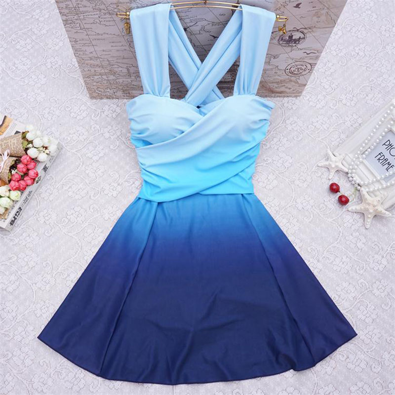 Gathered Summer Chest Swimsuit Skirt Women One Piece Swimwear Slim Body Backless Bodysuit Bather Crop Bandage Bathing Suit