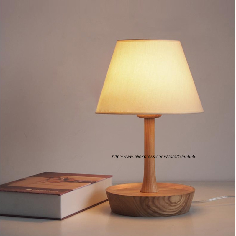 Modern Wood Table Lamp Desk Light Bedside Lighting Bedroom Lamps Read Lights indoor brief solid oak wood textile desk lamp fabrics lampshade table light bedroom bedside warm lampara night light luminaria