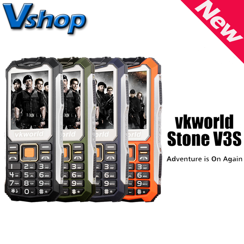 Russian Keyboard VKWorld Stone V3S 2.4 inch Waterproof Dropproof Dustproof Mobile Phone Dual LED Light FM Dual SIM Cell Phone
