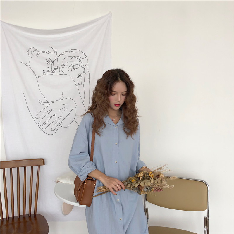 Vintage autumn Long Dress long Sleeve shirt turn down collar woman Lady loose shirt Casual Fashion maxi Dress cotton blue white 9