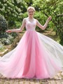 Beauty Cheap Long Lace A-Line Top Wedding Party Gowns Strapless Long Tulle Vestido Mae Da Noiva Princess Pink Bridesmaid Dresses