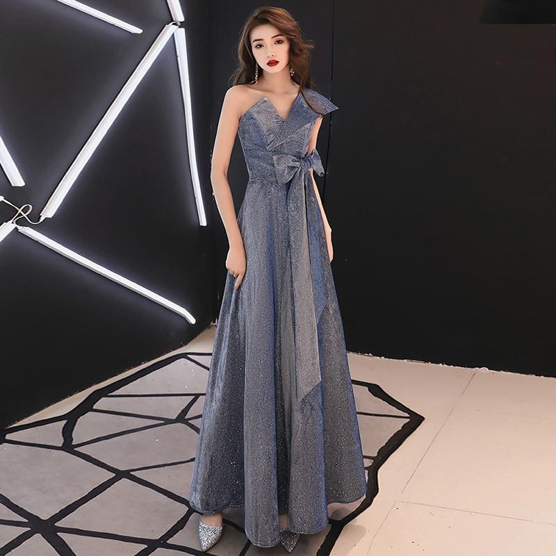 2019 femmes de luxe Sexy élégante robe formelle robe de bal longue robe de soirée femme une épaule arc sans manches Maxi robe