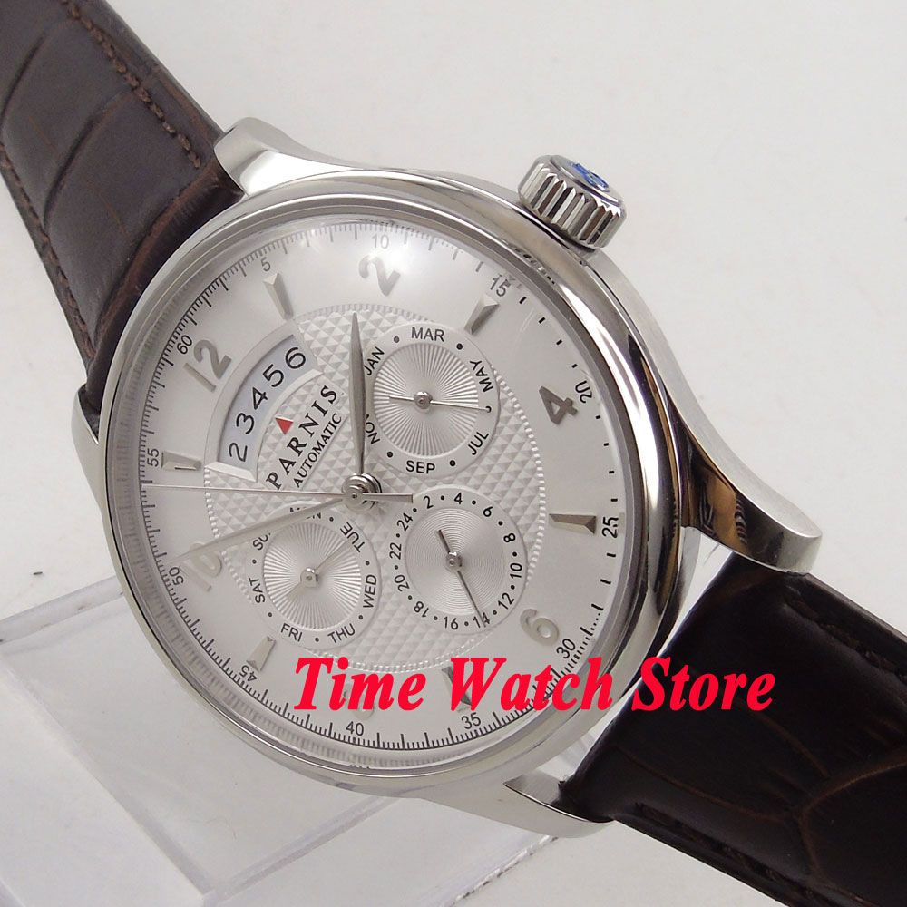 42mm Parnis MIYOTA 9100 Automatic movement mens watch 668 sapphire crystal 42mm parnis withe dial sapphire glass miyota 9100 automatic mens watch 666b