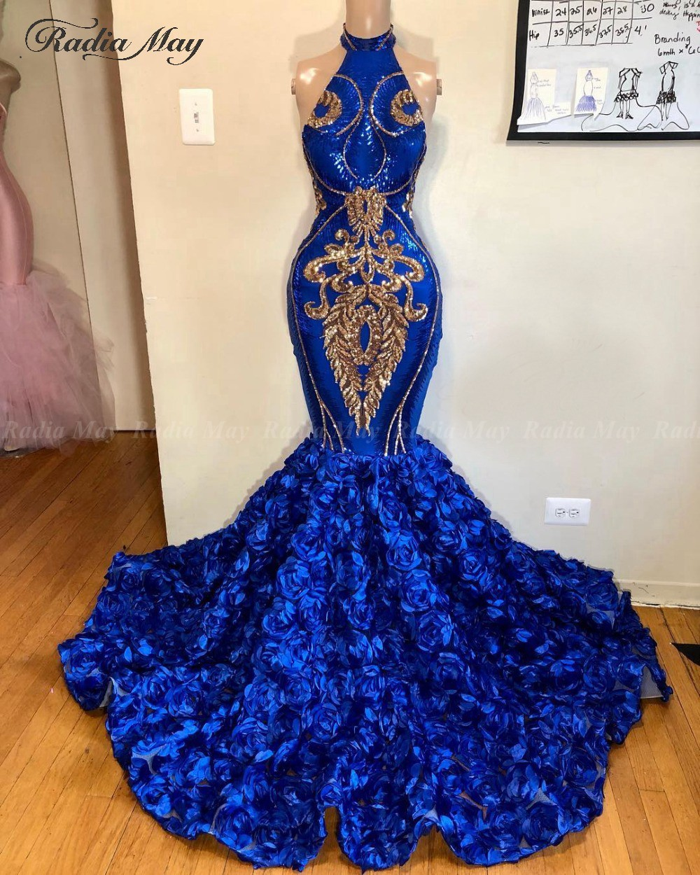 Royal Blue And Gold Sequin 3D Rose Floral Mermaid Prom Dresses Black Girls High Neck Plus Size African Women Formal Evening Gown