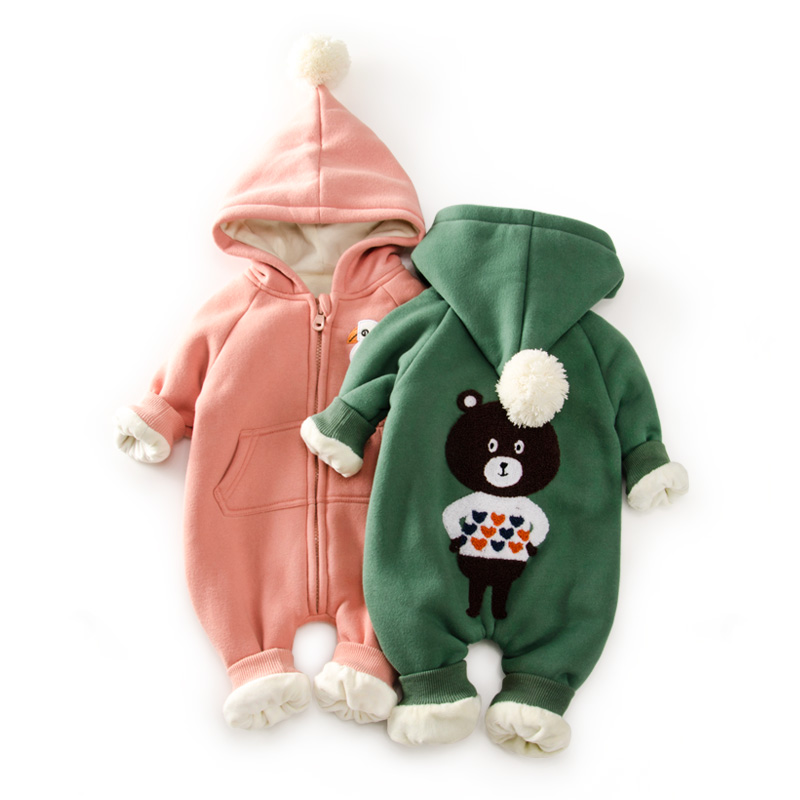 Top Baby Winter Warm Fleece Snowsuit With Hat Newborn Baby