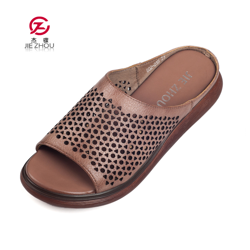 2d710f321de596 New Summer Wedge Slippers Vintage Genuine Leather Slippers Comfortable  Platform Outside Flip Flops Woman Basic Wedge