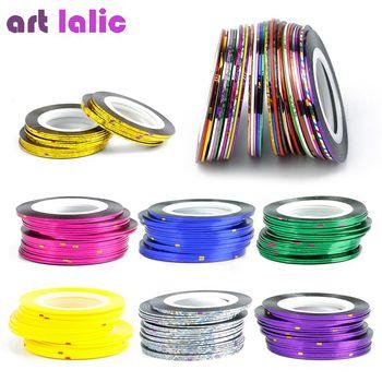 30 Pcs 30 Multicoloridos Cores Misturadas Rolls Striping Prego Linha Tape Art Decoração Etiqueta DIY Pontas Das Unhas