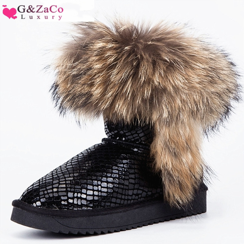 G&Zaco Luxury Snow Boots Natural Fox Fur Ankle Boots Waterproof Genuine Leather Cow Real Fur Boots Low Women Winter Short Shoes free 6 cuffs contec manufacturer shipping abpm50 24 hours ambulatory automatic blood pressure monitor nibp ce approved