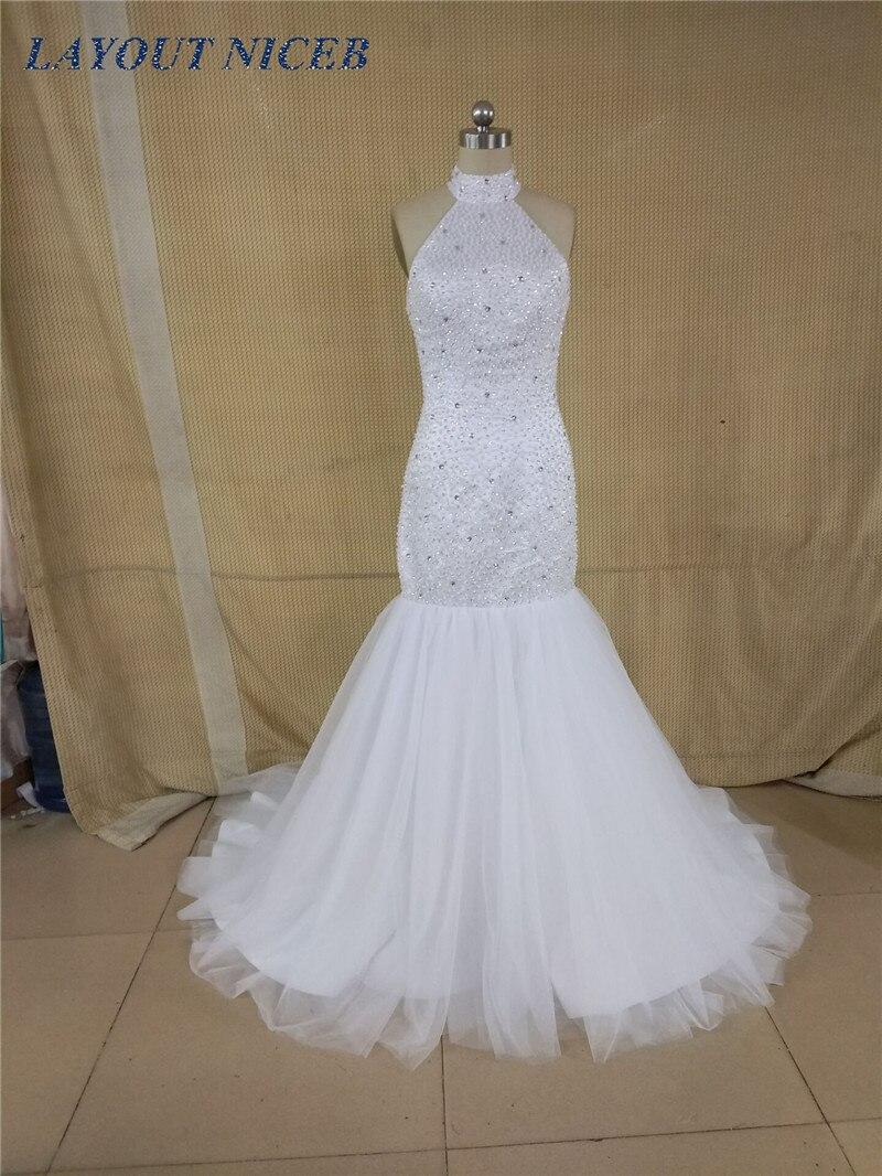 Long Mermaid Prom Dresses abendkleider 2018 Halter Beading White ...