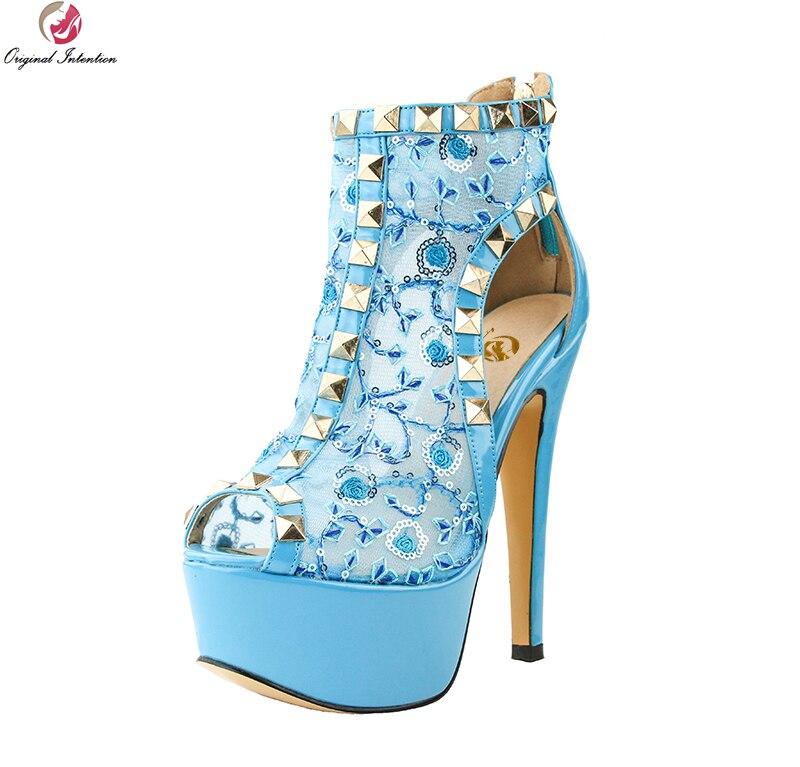 Original Intention Super Elegant Women Sandals Gorgeous Glitter Peep Toe Thin Heels Fashion Blue Shoes Woman Plus US Size 4-15 dark blue belted peep toe fashion booties