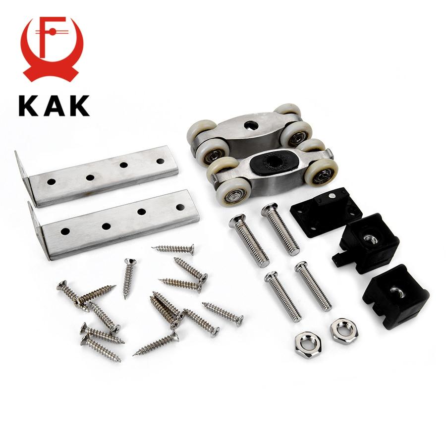 KAK Stainless Steel Sliding Door Rollers 80KG Bedroom Wood Door Hanging Wheels Meeting Room Wardrobe Door Roller Wheels