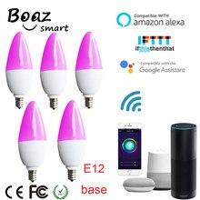 Boaz-EC Smart Wifi E12 LED Light Bulb Candle Tuya Smartlife Led Voice Control Alexa Echo Google Home IFTTT 5pc