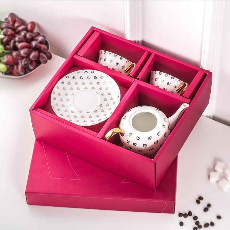 Набор кофейных чашек костяного фарфора английский послеобеденный чай набор керамический торт Свадебная коробка Европейский кофейный набо... - 4
