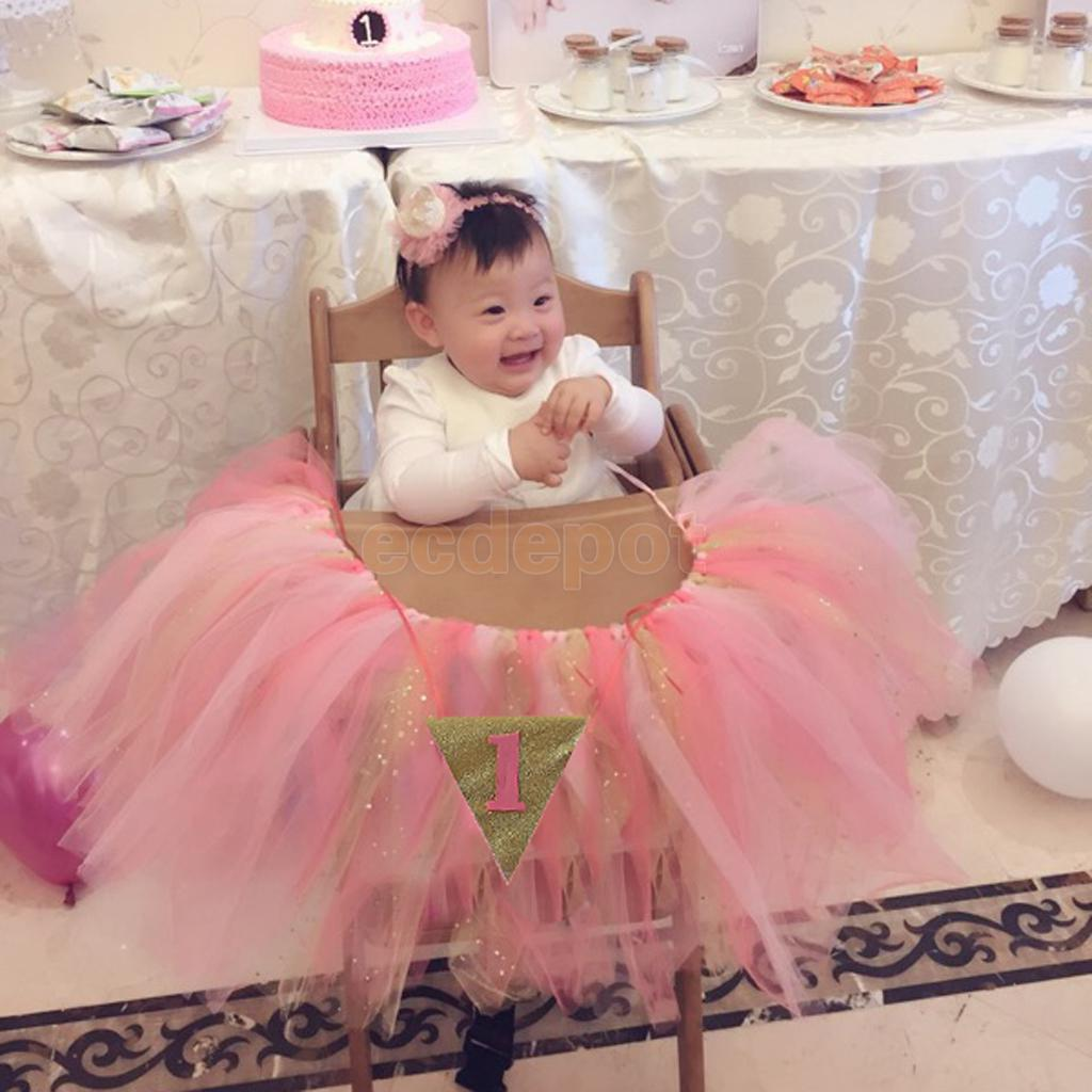 Baby 1st Birthday High Chair Tutu Skirt Tulle Table Skirt Party Decoration ...