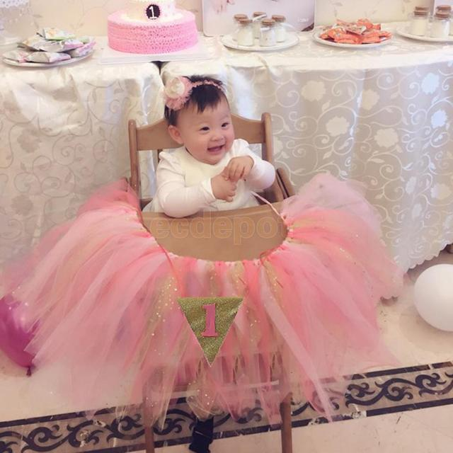Baby 1st Birthday High Chair Tutu Skirt Tulle Table Skirt Party