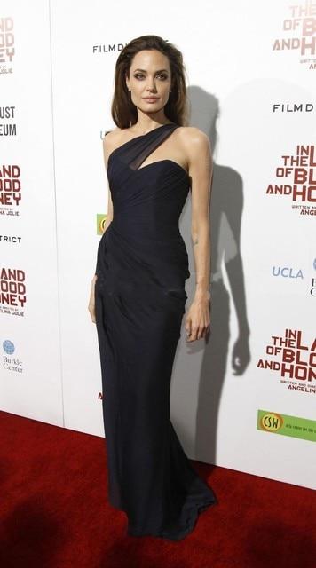 7d9a94b265 Angelina Jolie Red Carpet Dress Elegante de Un Hombro de la Sirena Negro  Celebrity Vestido De