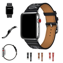 URVOI Single Tour Eperon dOr band for apple watch series 6 5 4 3 2 1 SE printed pattern strap for iwatch belt Noir Gala leather