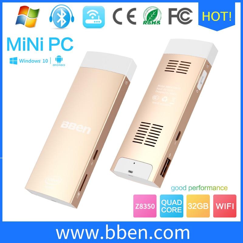 Z8350 bben mini pc de windows 10 y android cpu quad core 2g + 32g hdmi mute vent