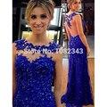 Sexy Azul Royal Mermaid Apliques Pescoço Da Colher Longos Vestidos de Noite 2016 vestido de Tule Beading Andar Vestido de Noite Comprimento SML31602