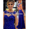 Sexy Royal Blue Mermaid Appliques Scoop Neck Long Evening Dresses 2016 Tulle Beading Floor Length Evening Dress SML31602