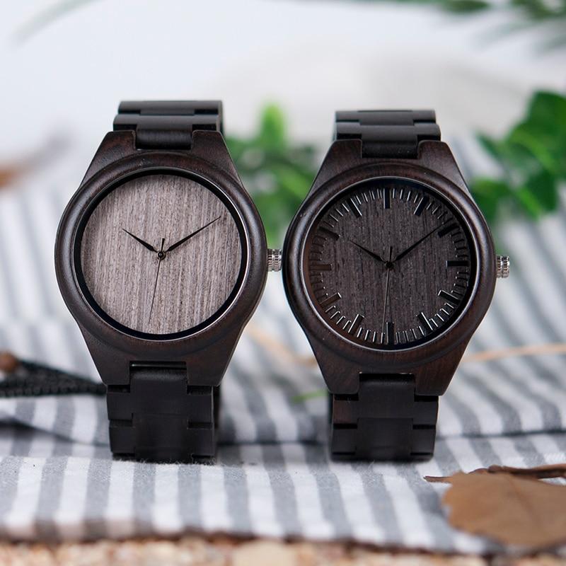 BOBO BIRD Hombre Negro Ébano Relojes de madera Reloj de pulsera de - Relojes para hombres - foto 2