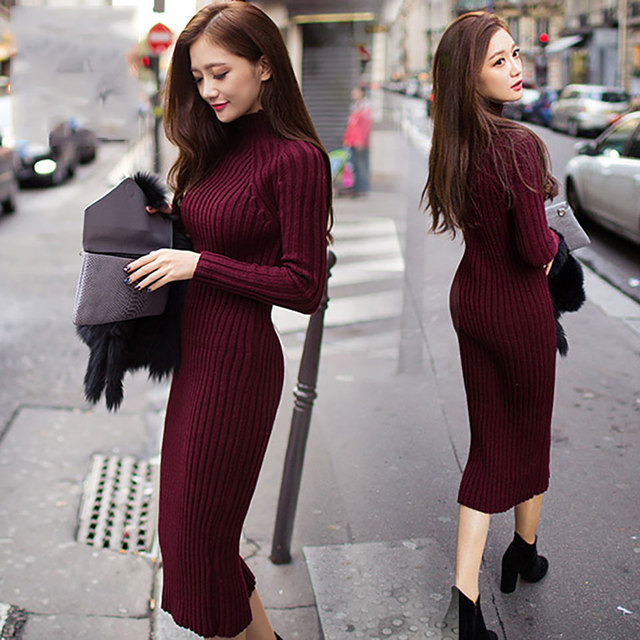 Pinky Is Black2017 Winter Women Casual Warm Dress knitted one-piece dress fashion slim turtleneck sweater basic long women dress
