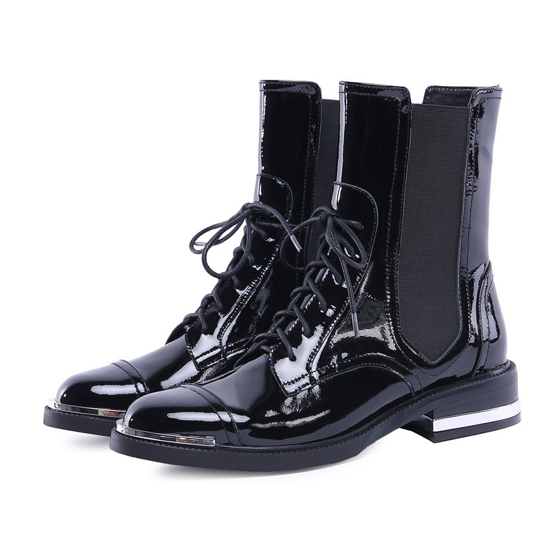 Buono Scarpe Mode Frauen Knöchel Stiefel Warme Echtes Leder High Heels Schuhe Frau Runde Kappe Kreuz gebunden Motorrad Stiefel schnürsenkel-in Knöchel-Boots aus Schuhe bei  Gruppe 2