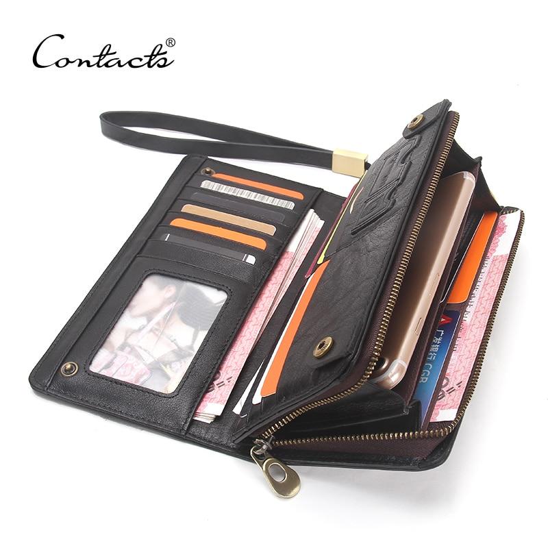 CONTACT'S дизайнерские итальянские полированные кожаные кошельки с двойным 100% из натуральной кожи кошелек коричневый мужской клатч брендовые ...