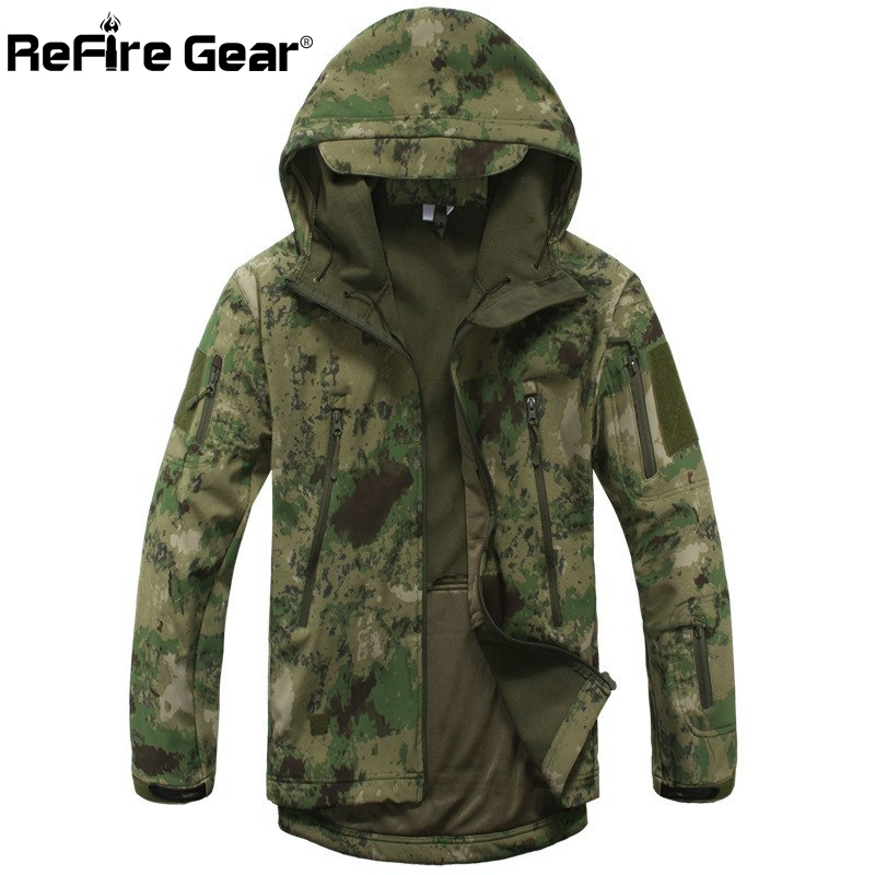 Tactical Sharkskin Soft Shell Hoodie Jacket Men/'s Army Military Waterproof Coat