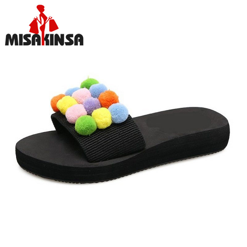 MISAKINSA Fashion Women Thick Platform Shoes Women Sweety Pompon Peep Toe Slippers Women ...