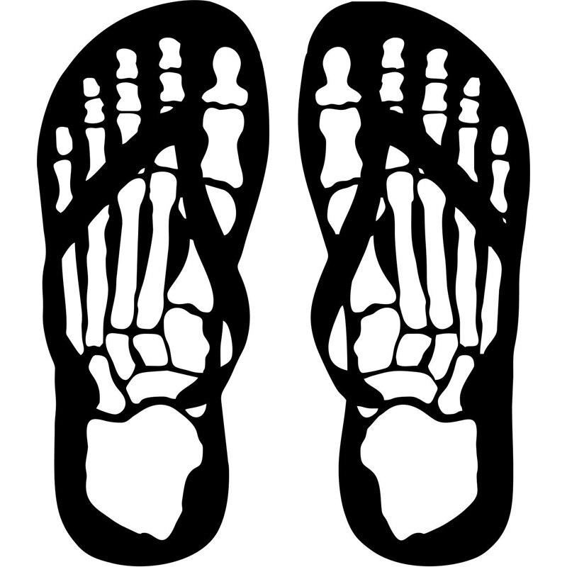58cm142cm A Pair Flip Flops Skeleton Skull Feet Stickers