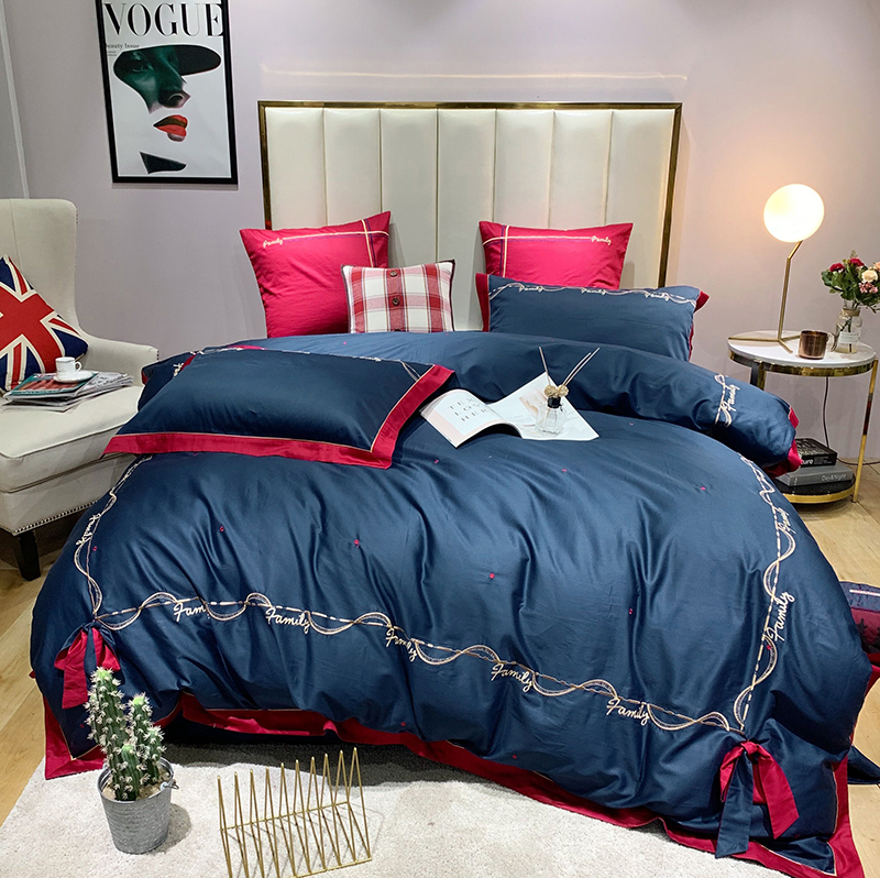 Luxury Egyptian Cotton British style Bowknot Bedding Set Embroidery Duvet Cover Sets Bed Sheet Pillowcases Queen King Size 4/6/7Luxury Egyptian Cotton British style Bowknot Bedding Set Embroidery Duvet Cover Sets Bed Sheet Pillowcases Queen King Size 4/6/7