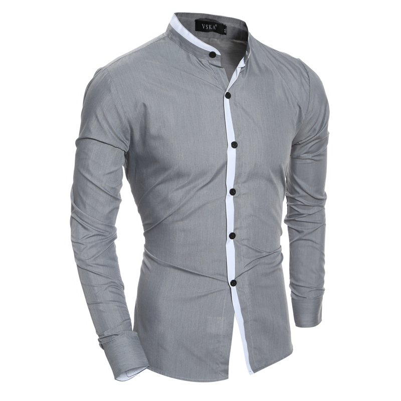 पुरुषों की शर्ट 2019 नई फैशन स्टैंड ठोस रंग सामाजिक व्यापार पोशाक शर्ट आरामदायक स्लिम रंग मिलान जेब लंबी आस्तीन शर्ट