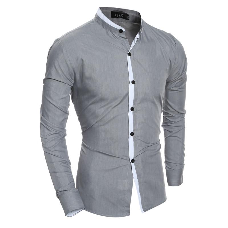 Mannen shirt 2019 nieuwe mode-standaard effen kleur sociale zakelijke overhemden casual slanke kleur matching placket lange mouwen shirt