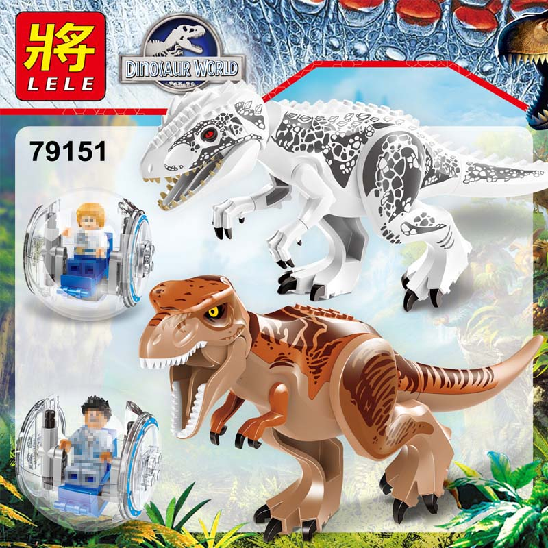 2 sets Jurassic World Tyrannosaurus Building Blocks Jurrassic Dinosaur Figures Bricks Compatible legoINGLYS Zoo Toy for Kids the dinosaur island jurassic infrared remote control electric super large tyrannosaurus rex model children s toy