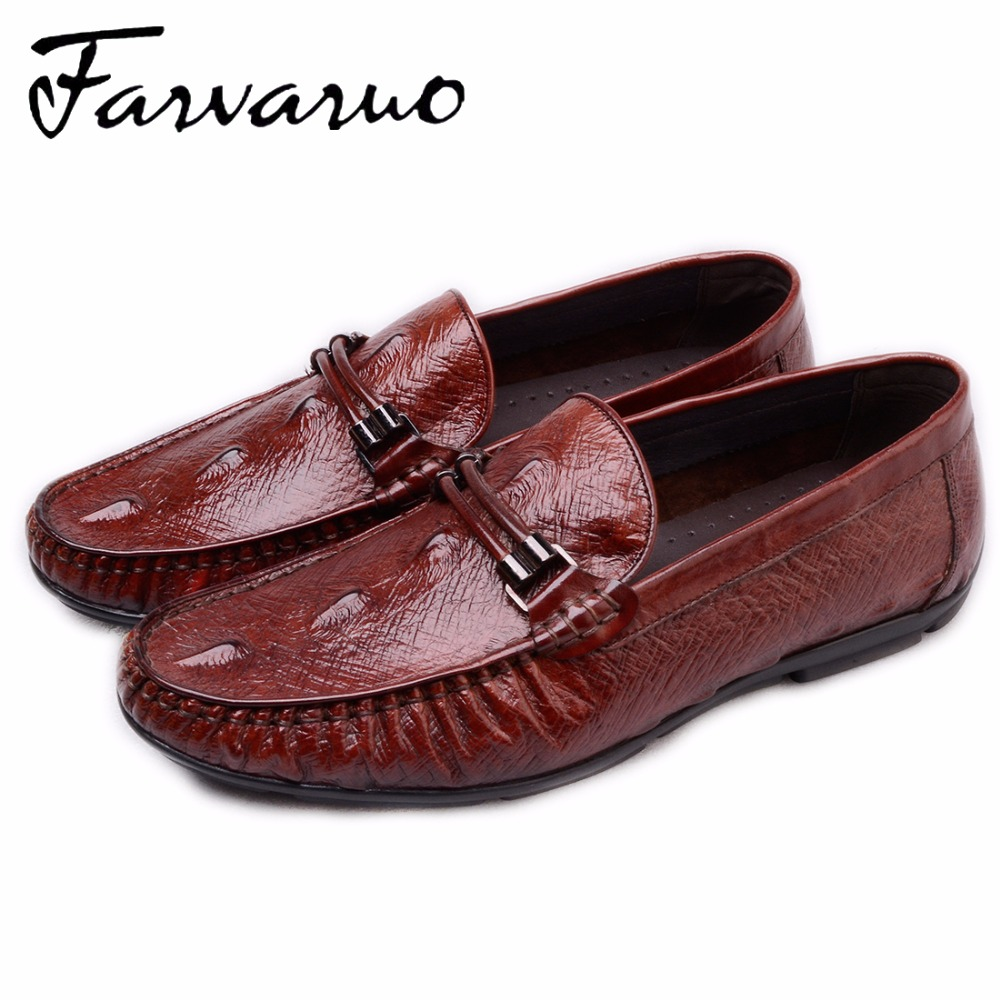 Farvarwo 2017 Brand Men's Genuine Leather Luxury Loafers Shoes Flats Slip On Designer Dress Shoes Red Wedding Driving Moccasins mycolen men loafers leather genuine luxury designer slip on mens shoes black italian brand dress loafers moccasins mens