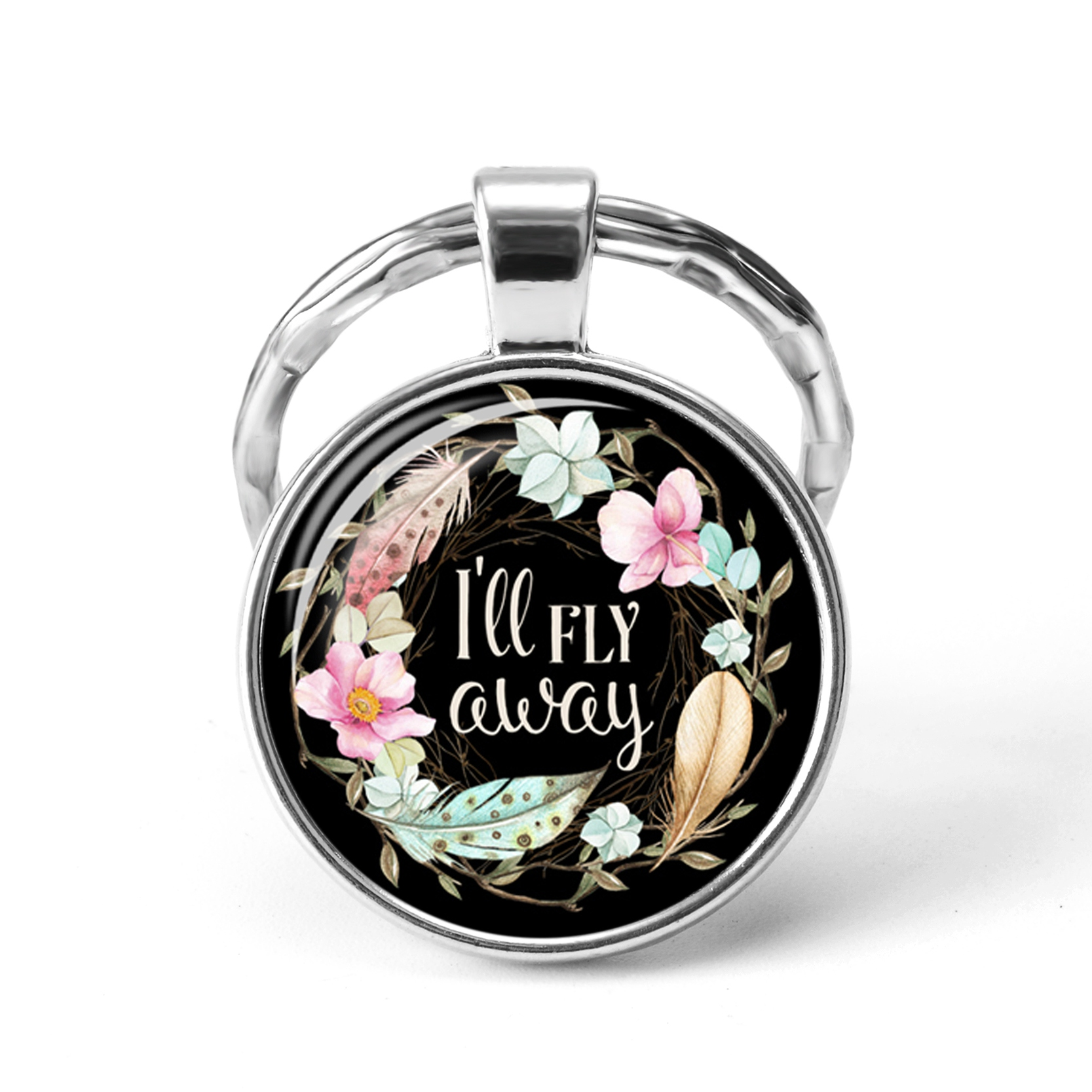 2019 Glass Dome Mixed Flower His Well Letter Christian Jesus God Key Chains Classic Psalm Quote Key Chain Bible Verse Jewelry
