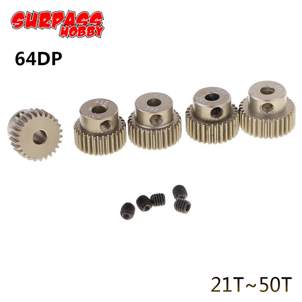 64DP 3.175mm 21T~50T Pinion Motor Gear for 1/10 RC Car Brushless Motor Off -Road Vehicle Buggy Car Spare Parts hot sale rc 1 10th 11184 hsp 1 10 gear differential main gear 64t 11181 motor gear 21t teeth car truck