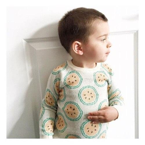 1-4Y Ребенка Малыша Свитера 2016 Осень Зима Orange Pattern Дети Наряды Детские Мальчики Девочки 100% Хлопок Трикотажные Пуловеры Топы