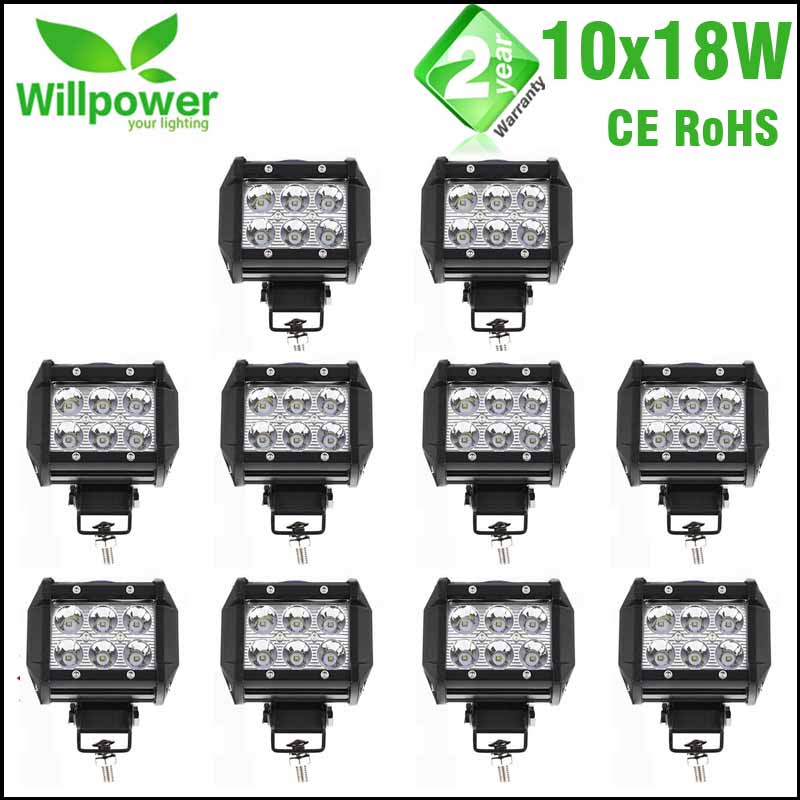 10pcs 18W LED Driving Light 18W Spot Flood 12V 24V 4 Inch LED Work Light Bar 4x4 LED Bar Offroad Car LED Bulb For Niva 4x4 guleek f018bf 18w 1260lm 6000k 6 led white flood light working lamp for offroad car