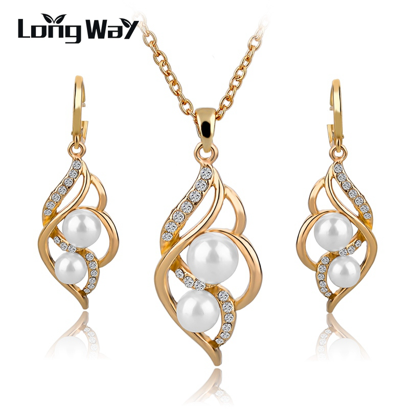 LongWay Gold Color Elegant Inlaid Jewell Jewellant Jewets Set Imitating Pearl Vaths Pearl, Për Dasma e grave SET140024