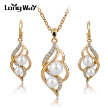 hot deal buy elegant fashion jewelry sets gold/silver plated pearl bead earrings sets pendant necklace set for women wedding dress set140024