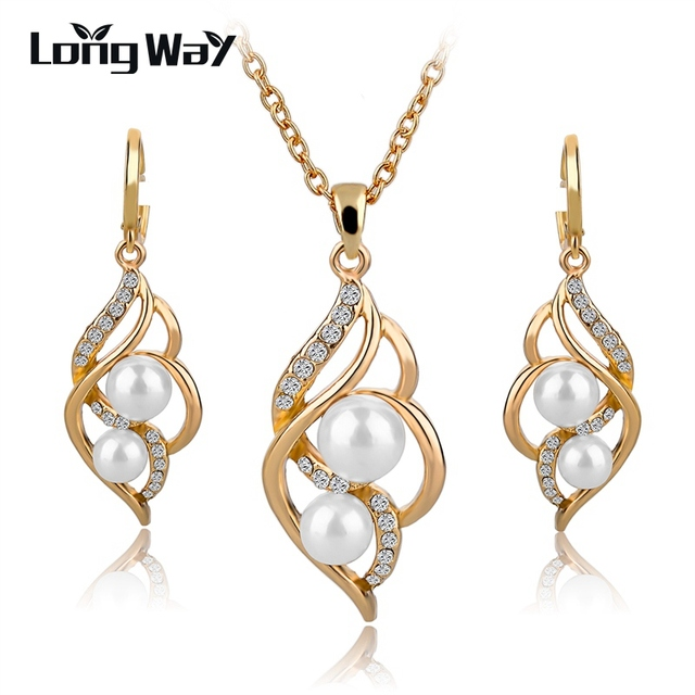 LongWay Gold Color Elegant Inlaid Crystal Jewelry Sets Imitation Pearl Earrings Necklaces Set For Women Wedding SET140024