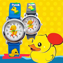 цена на Hot sale Cartoon Yellow duck Baby Watch for children soft Silicone Quartz Wristwatches Kids Watches for Boys Girls Student Clock
