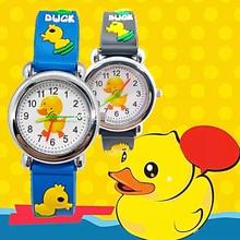 Hot sale Cartoon Yellow duck Baby Watch for children soft Silicone Quartz Wristwatches Kids Watches for Boys Girls Student Clock