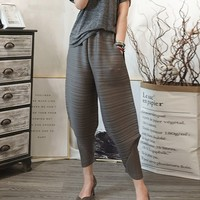 LANMREM 2019 Spring spring New Pattern Elastic Waist Pleated Ankle Length Solid Color Loose Ladies Fashion Harem Pants BA696