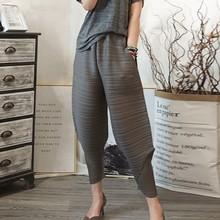 Lanmrem 2020 秋秋の新パターン弾性ウエストプリーツ足首までの長さ無地ルーズ女性のファッションハーレムパンツBA696