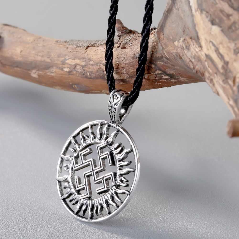 CHENGXUN Viking Solar wisiorek amulet naszyjnik Alatyr gwiazda słowiańska biżuteria słońce Symbol wisiorek talizman germański Pagan mężczyzn naszyjnik